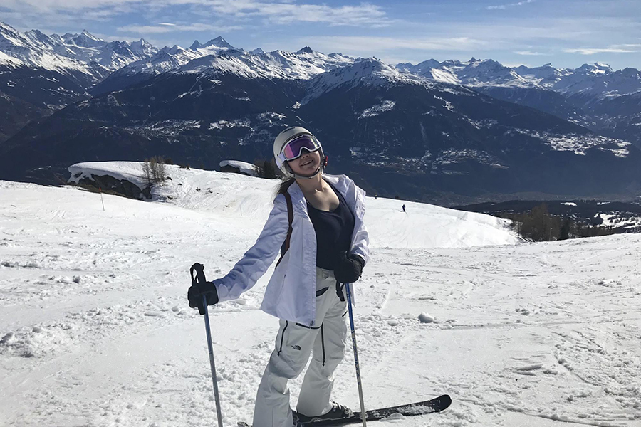 Joy Mack '21 on the slopes of Crans Montana