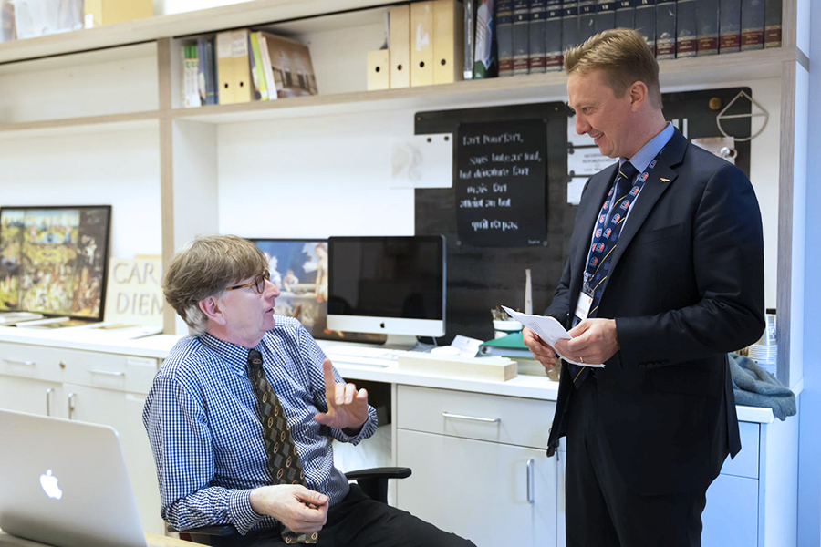 Dr. Janne Sirén reconnecting with Mr. Aeschliman